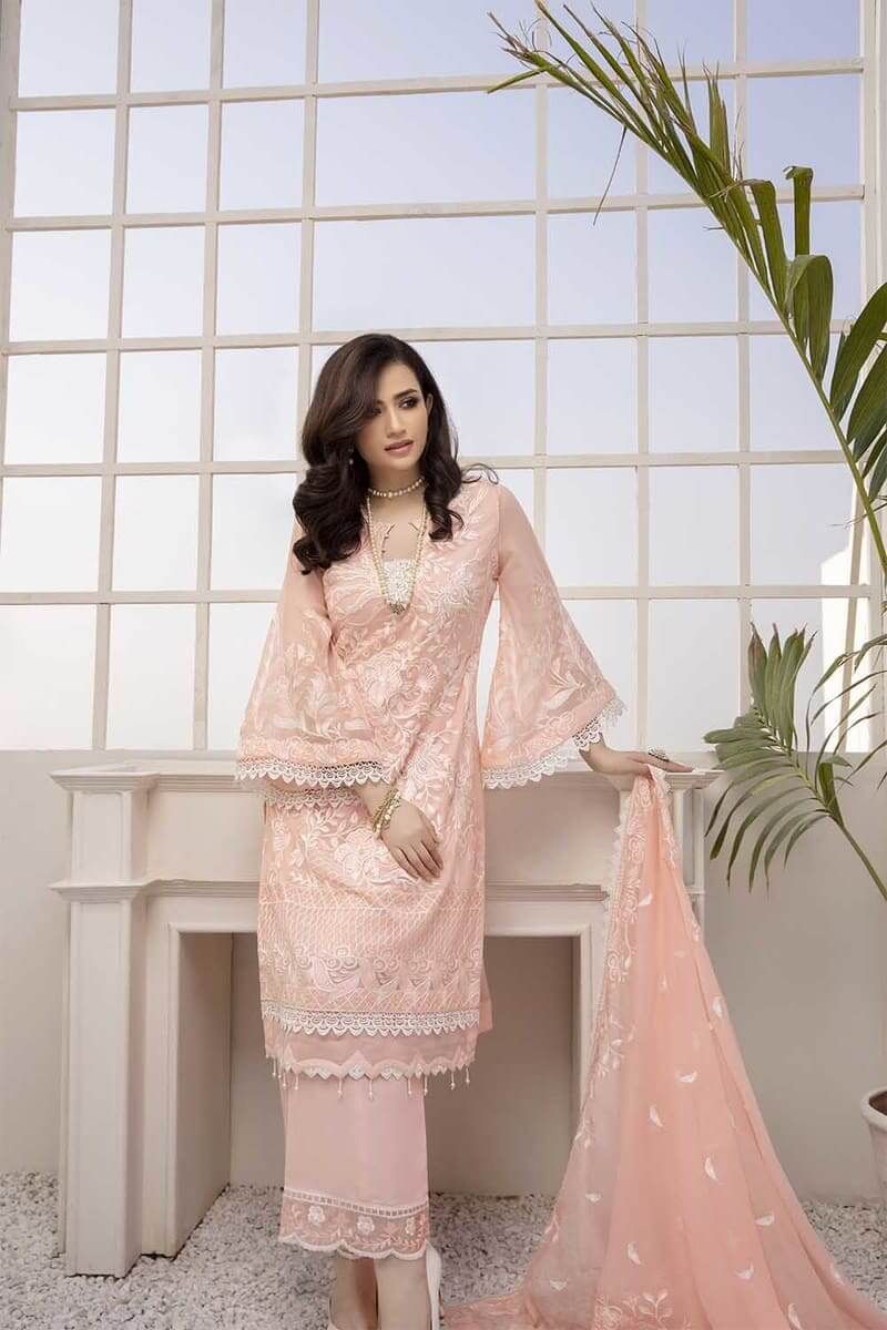 Azure Festive Collection 2021 Pakistani Suits D-07 Gleaming Peach