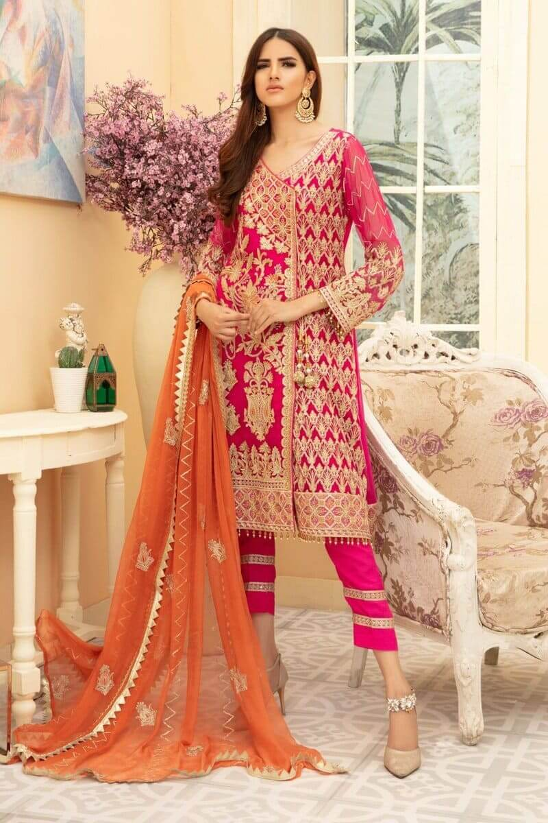 Maryum N Maria Premium Chiffon Collection 2020 Pinkile Whelite MMD-01