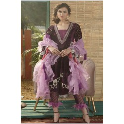 Zara Hayaat Winter Collection 2020 Designer Salwar Kameez Periwinkle W2