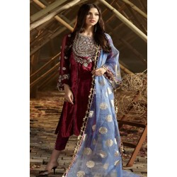 Zara Hayaat Winter Collection 2020 Designer Salwar Kameez French Rose W9