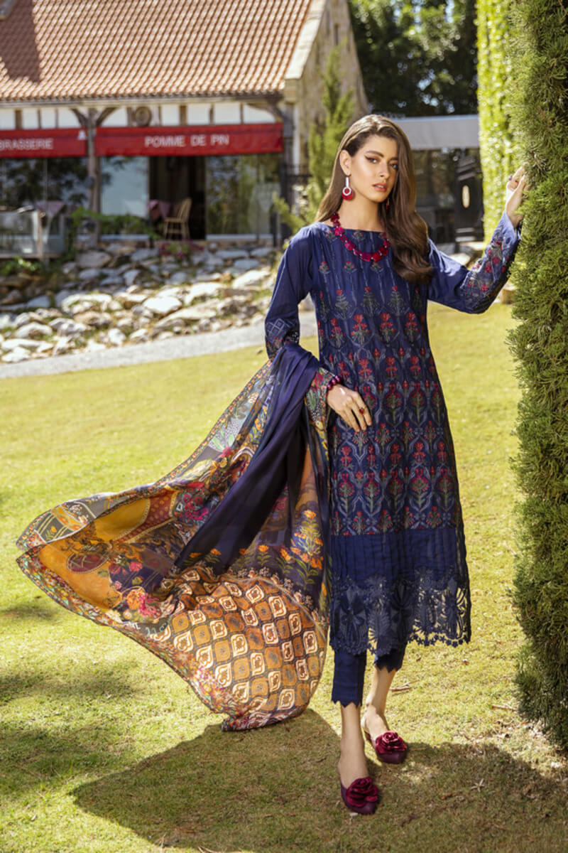 Pakistani Summer Collection Iznik Lawn Collection 2020 IL20-12 BLUEBERRY