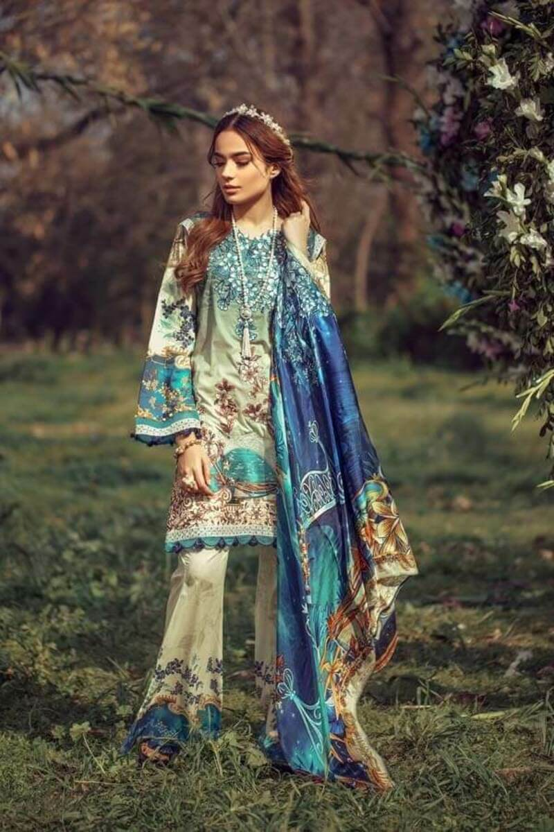 Floral Fantasies Premium Lawn Collection 2020 by Adan's Libas SNOW WHITE