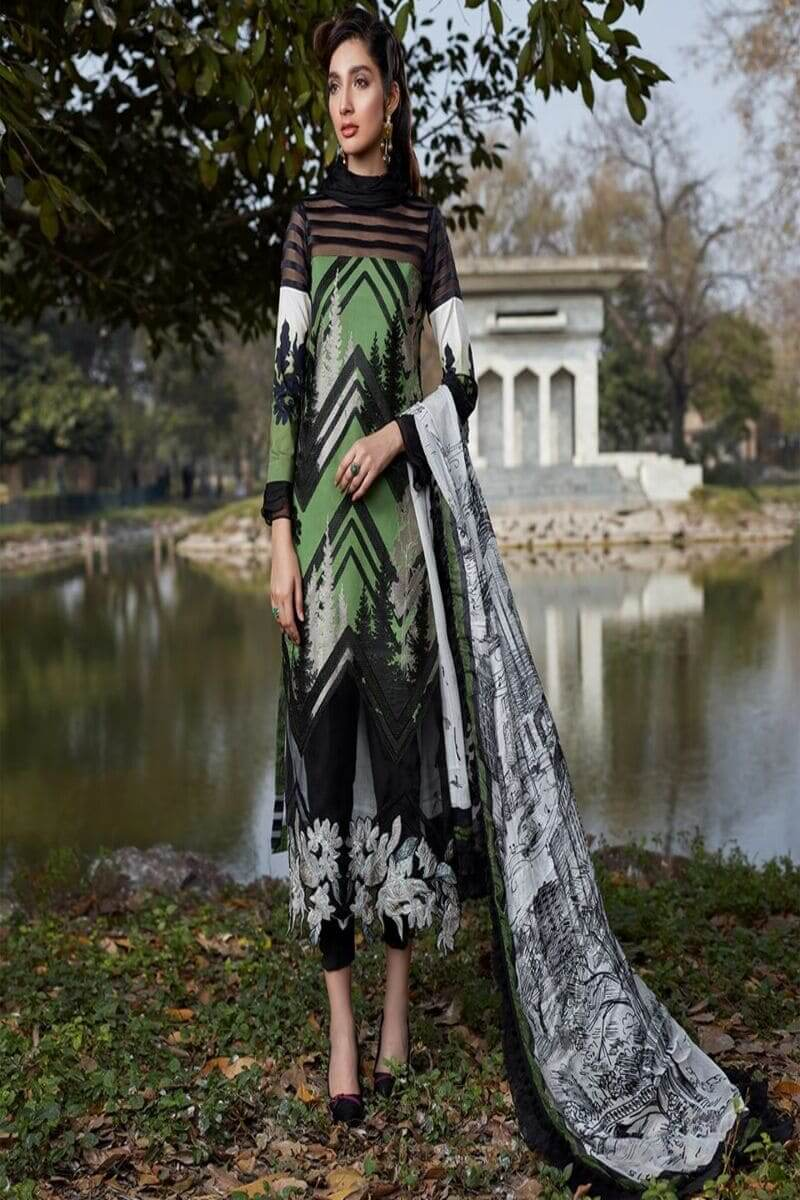 Asifa and Nabeel Luxury Lawn 2020 Salwar Kameez 44C A NEW LEAF