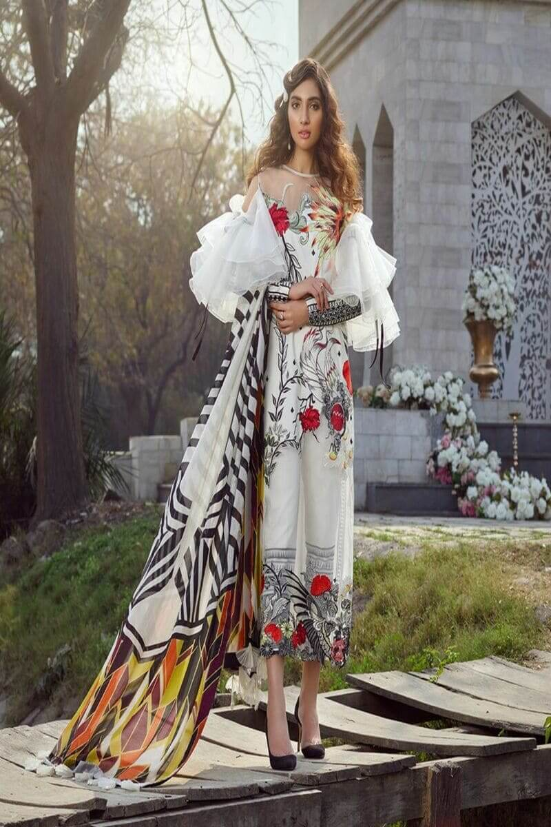 Asifa and Nabeel Luxury Lawn 2020 Salwar Kameez 44C THE WHITE BIRD