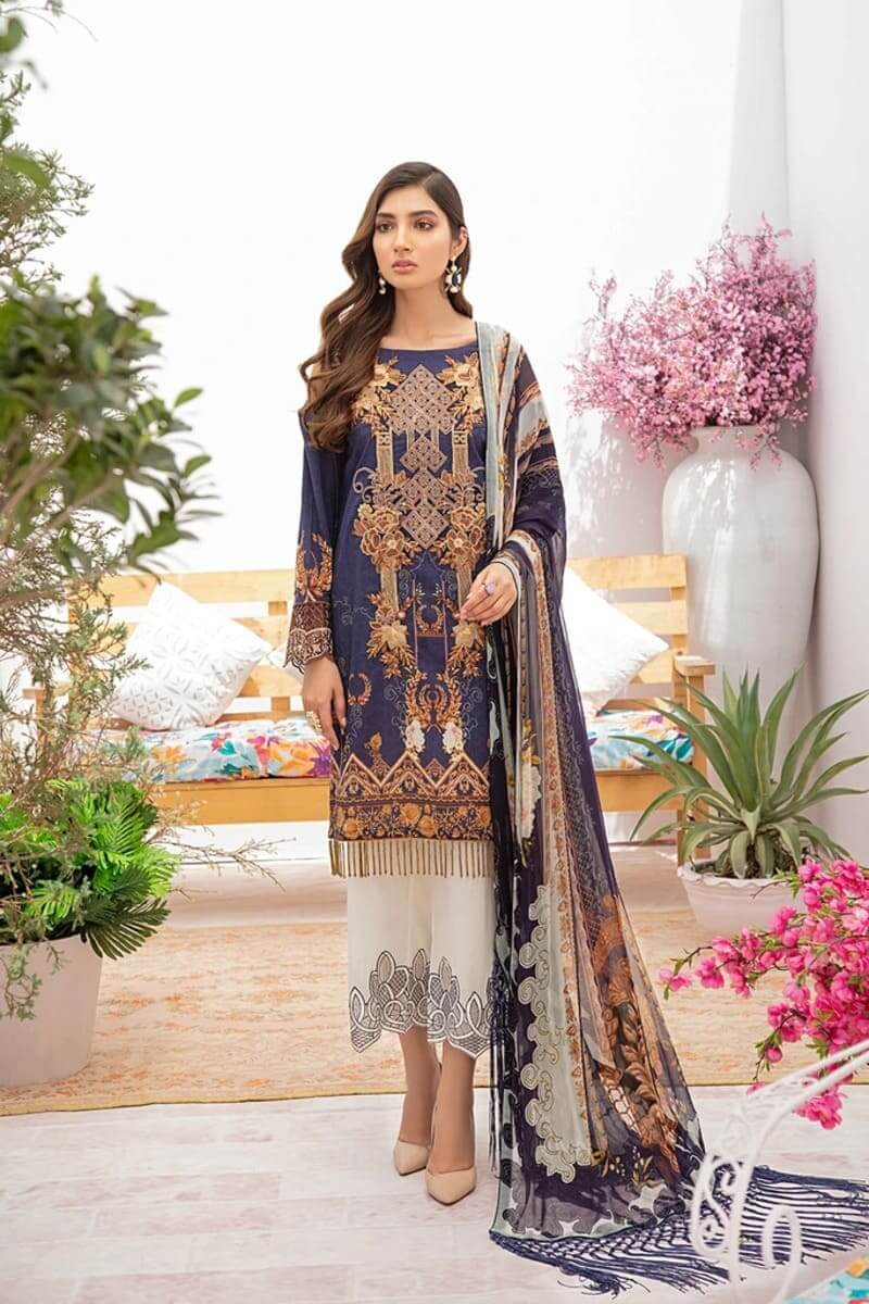 Chevron Luxury Lawn Vol 3 by Ramsha Designer Salwar Kameez C-301