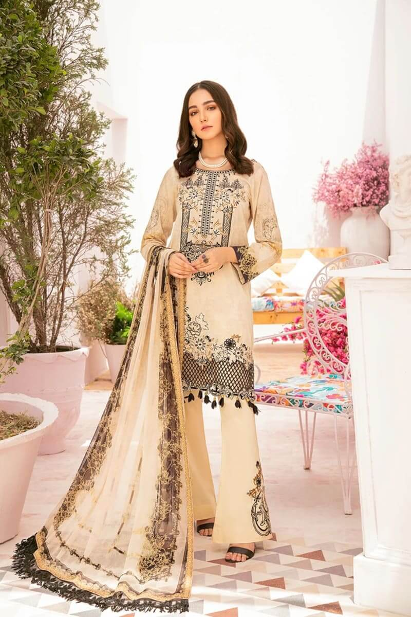 Chevron Luxury Lawn Vol 3 by Ramsha Designer Salwar Kameez C-302