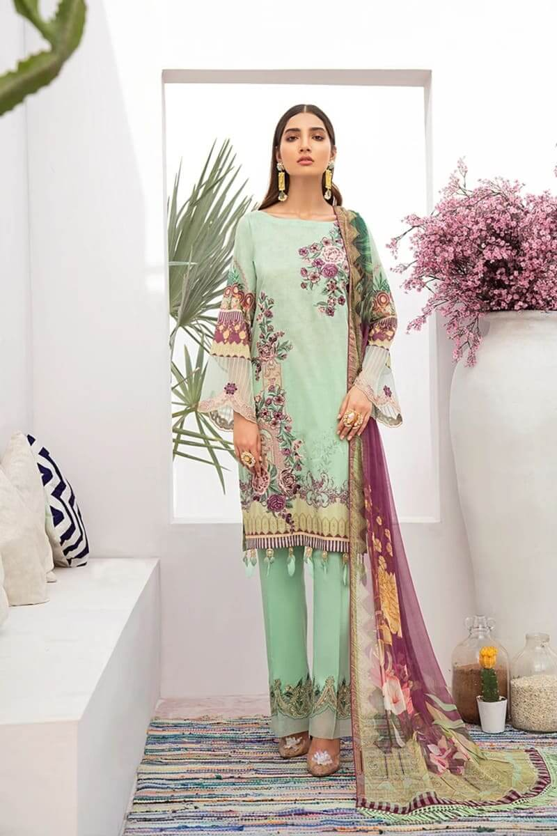 Chevron Luxury Lawn Vol 3 by Ramsha Designer Salwar Kameez C-312